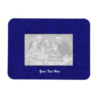 Flexible Photo Magnet - Dark Blue Mosaic Border