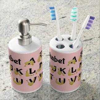 Flexible Pony | Alphabet Chart Soap Dispenser And Toothbrush Holder