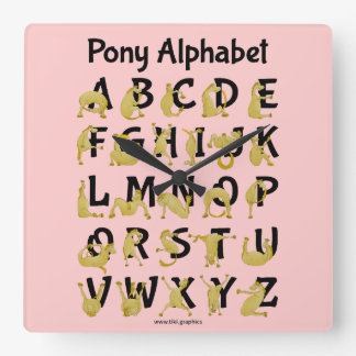 Flexible Pony | Alphabet Chart Square Wall Clock