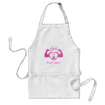 Flexing arms to fight breast cancer adult apron