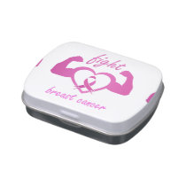 Flexing arms to fight breast cancer candy tin