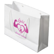 Flexing arms to fight breast cancer large gift bag