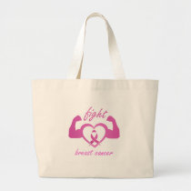 Flexing arms to fight breast cancer large tote bag