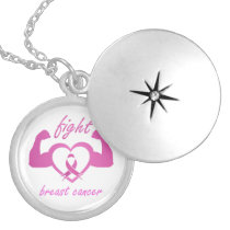 Flexing arms to fight breast cancer locket necklace