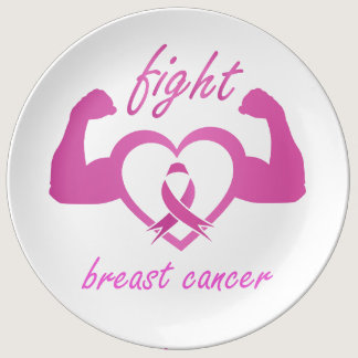 Flexing arms to fight breast cancer porcelain plate