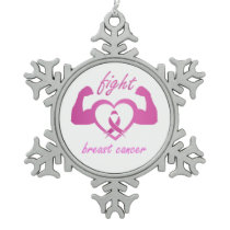 Flexing arms to fight breast cancer snowflake pewter christmas ornament