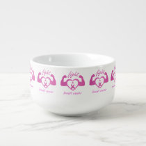 Flexing arms to fight breast cancer soup mug