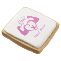 Flexing arms to fight breast cancer square shortbread cookie