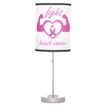 Flexing arms to fight breast cancer table lamp