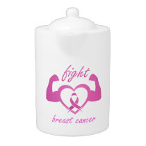 Flexing arms to fight breast cancer teapot