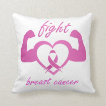 Flexing arms to fight breast cancer throw pillow