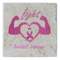 Flexing arms to fight breast cancer trivet