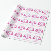 Flexing arms to fight breast cancer wrapping paper