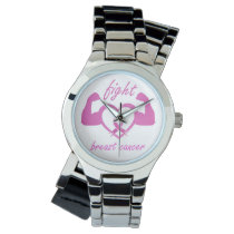 Flexing arms to fight breast cancer wrist watch
