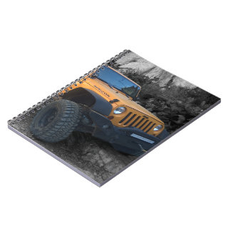 Flexing Jeep B/W background Notebook