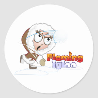 Fliaming Igloo Girl Fights Back Classic Round Sticker