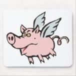 fliegendes Schwein Sau flying pig hog Mousepads