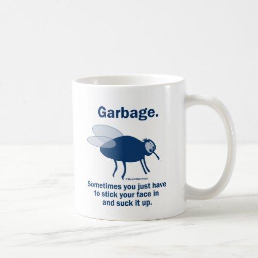 Flies and garbage classic white coffee mug
