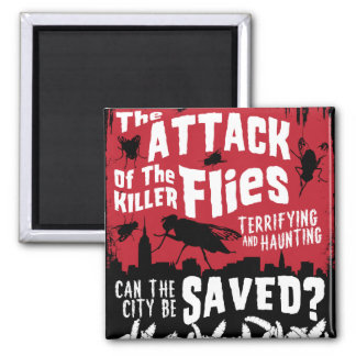 Flies Attack! 2 Inch Square Magnet