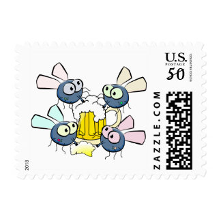 Flies Drinking Pint of Beer Cute Cartoon Stamp
