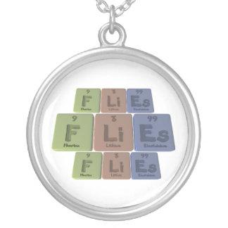 Flies-F-Li-Es-Fluorine-Lithium-Einsteinium.png Round Pendant Necklace