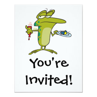 flies for dinner funny frog cartoon card