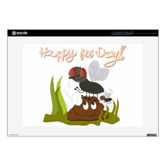 "Flies on smiling, smelly poo funny cartoon decals for 15"" laptops"