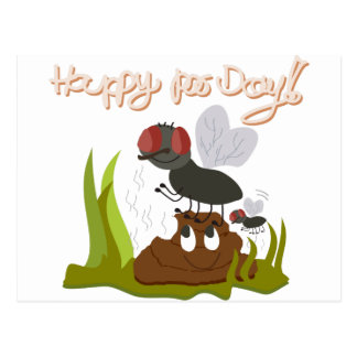 Flies on smiling, smelly poo funny cartoon postcard