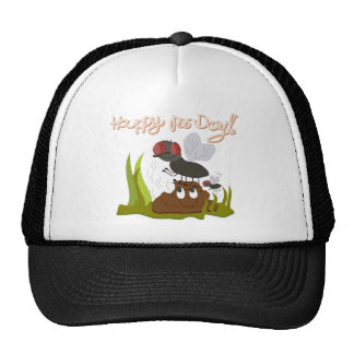 Flies on smiling, smelly poo funny cartoon trucker hat