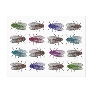 Flies on the Wall - Multicolored Fruit Flies Canvas Print