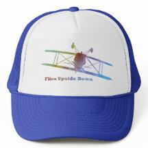 Plane Upside  on Flies Upside Down Stunt Plane Trucker Hat