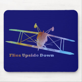 Flies Upside Down Stunt Plane Mouse Pad
