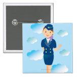 Flight Attendant 2 Inch Square Button