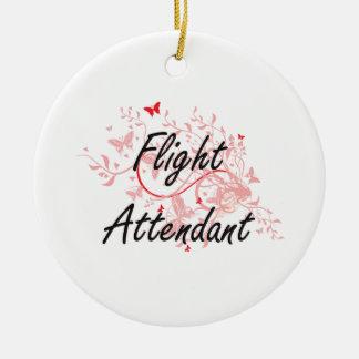 Flight Attendant Artistic Job Design with Butterfl Ceramic Ornament