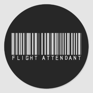 Flight Attendant Bar Code Classic Round Sticker