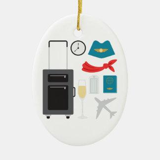 Flight Attendant Ceramic Ornament