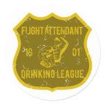 Flight Attendant Drinking League Classic Round Sticker
