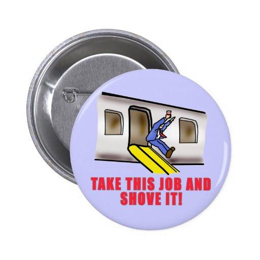 Flight Attendant Emergency Chute Humor Pinback Button
