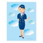 Flight Attendant Postcard