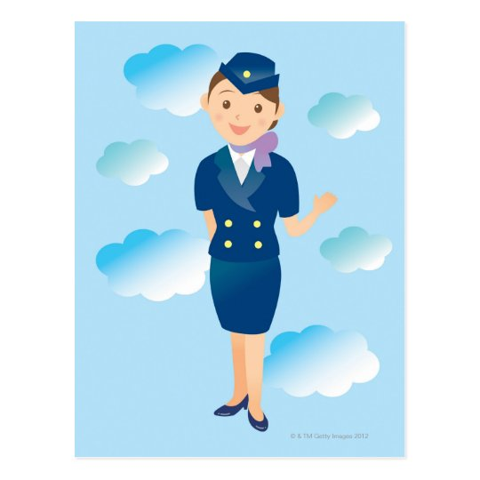 Flight Attendant Postcard