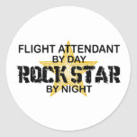 Flight Attendant Rock Star Classic Round Sticker