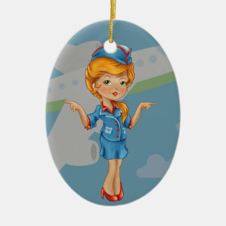 Flight Attendant - SRF Double-Sided Oval Ceramic Christmas Ornament