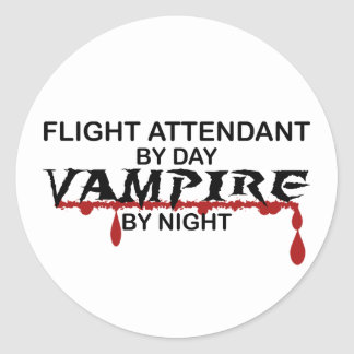 Flight Attendant Vampire by Night Classic Round Sticker