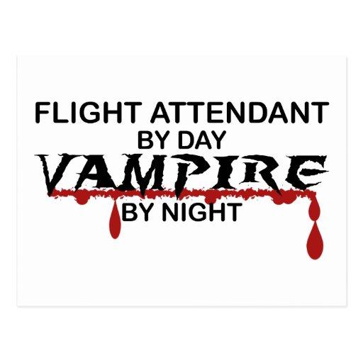 Flight Attendant Vampire by Night Postcard