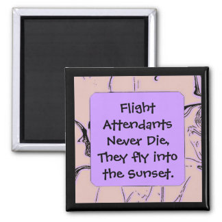 Flight Attendants fly into sunset 2 Inch Square Magnet
