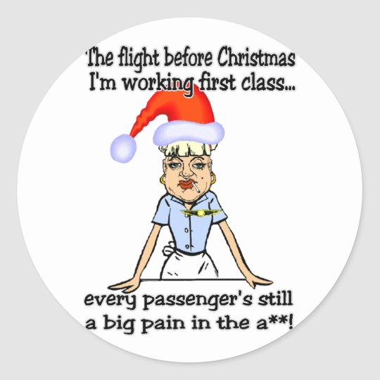 Flight Before Christmas Classic Round Sticker