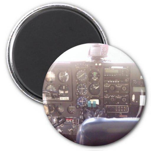 Flight Controls on Small Jet Plane 2 Inch Round Magnet