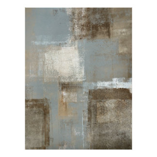 'Flight' Grey and Beige Abstract Art Poster Print