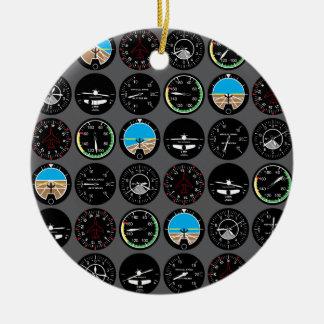 Flight Instruments Ceramic Ornament