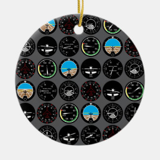 Flight Instruments Double-Sided Ceramic Round Christmas Ornament